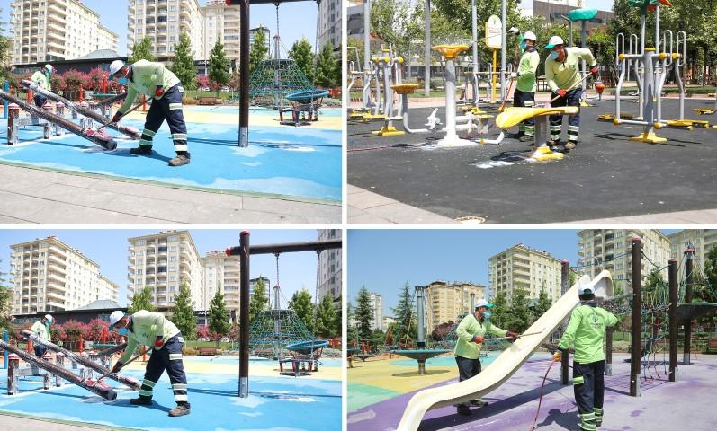 Şehitkamil'deki Tüm Parklar Dezenfekte Ediliyor