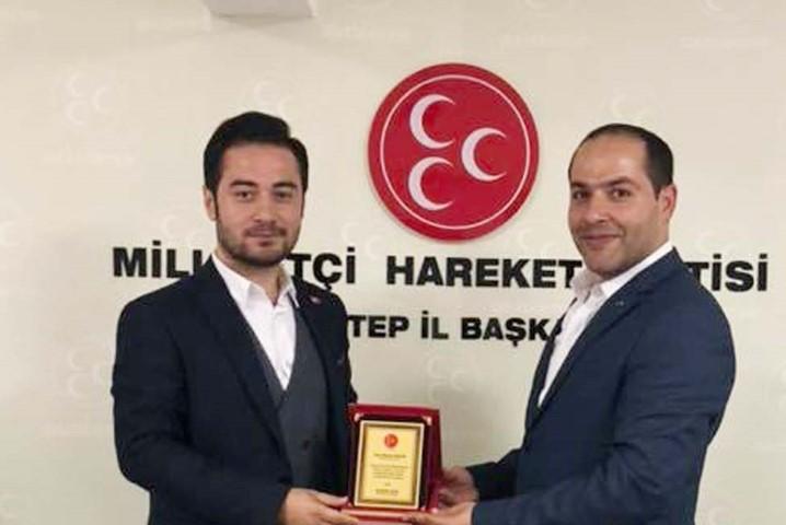 MHP İl Başkanı Çelik ödüllendirdi