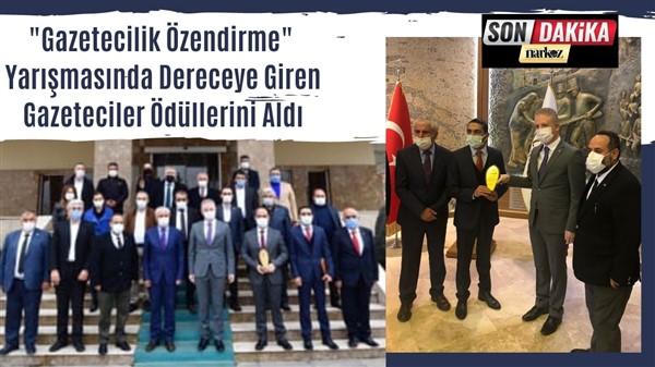 """""""Gazetecilik Özendirme"""" Yarışmasında Dereceye Giren Gazeteciler Ödüllerini Aldı"""