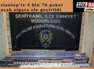 Gaziantep'te 4 Bin 76 Paket Kaçak Sigara Ele Geçirildi