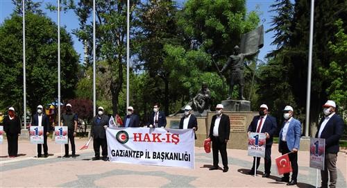Gaziantep'te sessiz sedasız 1 Mayıs İşçi Bayramı kutlaması