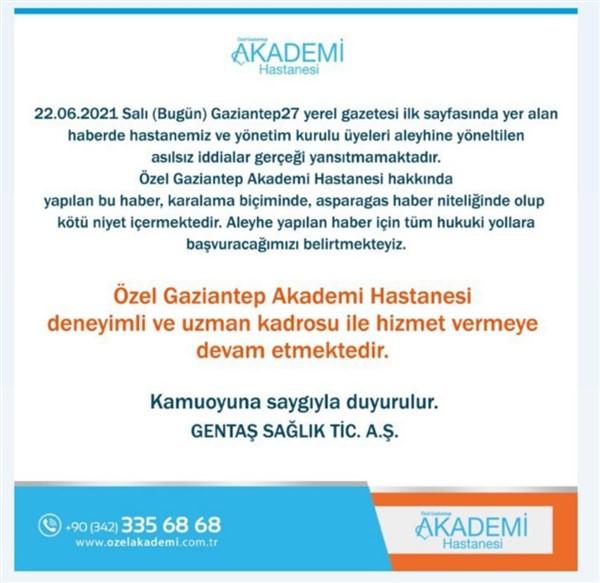 Gaziantep Özel Akademi Hastanesi'nden İflas Haberine İlişkin Açıklama