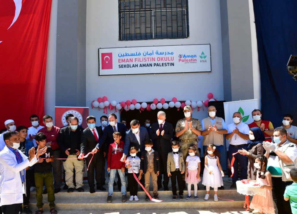 Protokolün Katılımıyla Cerablus'ta  Eman Filistin Okulu Açıldı